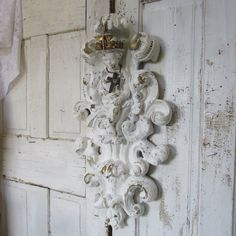 Cherub sculpture with handmade crown ornate large chalkware shabby cottage chic hand painted distressed white wall decor anita spero