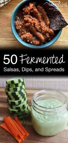 50 Fermented Salsas, Dips, & Spreads   My family are huge fans of my homemade salsa, bean dip, and pesto -- which are all lacto-fermented. As I put together this round-up of 50 amazingly healthy and colorful fermented salsas, dips, and spreads, my eyes were opened to all the ways I can add even more beneficial bacteria into our foods... and probably without anyone noticing. ;)   TraditionalCookingSchool.com