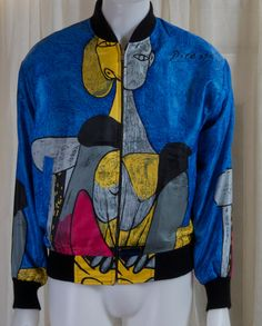 1980s Picasso bomber jacket in blue. Satin, XL or XXL, Unisex by TessiesOldOddities on Etsy