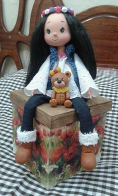 Pretty Dolls, Beautiful Dolls, Decoden, Pasta Flexible, Clay Dolls, Candy Jars, Clay Art, Special Gifts, Biscuit