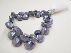 """""""39BEADS/41GM NATURAL SILVER MYSTIC coated gray moonstone faceted heart beads Jewelry making supplies"""""""
