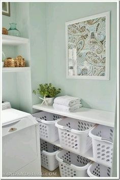 Built-in Laundry basket storage - laundry room makeover