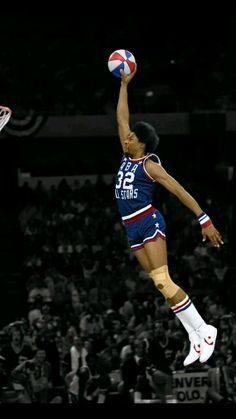 Dr J ABA All Star Game, slam dunk winner. Julius Erving.