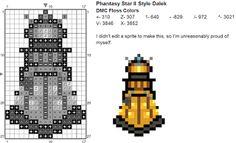 Dork Stitch: Sprite Patterns December Day 24: Dalek Doctor Who cross stitch Patterns