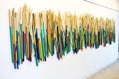 Image of Modern Art | Wood Wall Stick Sculpture | Wood Wall Art | Commercial Wall Sculpture