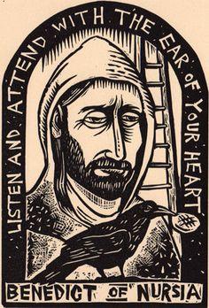 Saint Benedict of Nursia linocut Christian devotional prayer icon