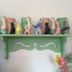 Vintage pie birds & Fireking pink & Jadeite vases.