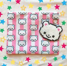 Kuma compongono sacchetto / borsa da viaggio con catena chiave di perler beads