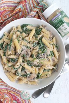 Creamy Spinach & Mushroom Pasta (Vegan)