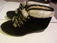 Vintage 60's SNOWLAND Leather Sherpa Lined Ankle Boots by AlmostHomeMemories on Etsy