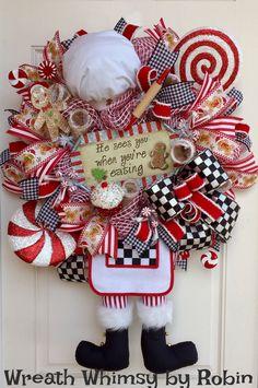 Christmas Santa Chef Deco Mesh Wreath, Holiday Wreath, Kitchen Decor, Baker Santa Wreath, Christmas Decor, Santa Claus Wreath, XL Santa by WreathWhimsybyRobin on Etsy