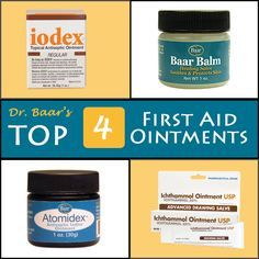 Applying a first aid ointment as the initial line of defense may help to promote faster healing of a wound. While there are many first aid ointments and creams available today, it is important to choose one which covers all the bases and suits your needs. Check out Dr. Baar's Top 4 First Aid Ointments.