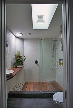 Loving the wooden floor wetroom idea.  Could add warmth and functionality to our space, though of course...this might be a bit big for us.. -Mel