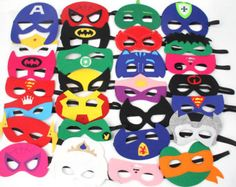 One 1 Superhero Felt Mask Ironman Spiderman by SuperFlySprouts