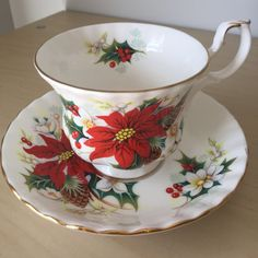 """Royal Albert """"Poinsettia"""" Vintage Teacup and Saucer, Red Flower Berry, Green…"""