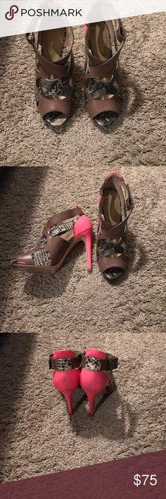 Heels Nude heels with a pop of pink Joan & David Shoes Heels