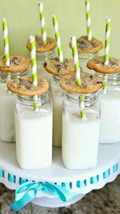 """Milk and Cookies at a """"Ready to Pop"""" Baby Shower - fab snack idea! Snacks Für Party, Party Treats, Pop Baby Showers, Baby Boy Shower, Milk Cookies, Cookies Et Biscuits, Shower Party, Baby Shower Parties, Perfect Party"""