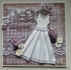 Kjolekort Confirmation Cards, Card Making, Flower Girl Dresses, Disney Princess, Wedding Dresses, Scrapbooking, Ideas, Fashion, Dress