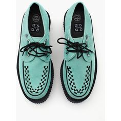Mondo Creeper - Mint (105 AUD) ❤ liked on Polyvore featuring shoes, creepers, mint suede, woven shoes, creeper platform shoes, laced up shoes, real leather shoes and mint shoes