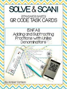 QR Codes give students immediate feedback! This set provides engaging practice on Adding and Subtracting Fractions with Unlike denominators.  No more boring worksheets for YOUR students!  Scan QR codes with any computer or smart device.