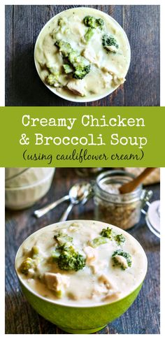 This creamy chicken & broccoli soup uses cauliflower cream to make a healthy, hearty soup. Low calorie, Paleo and gluten free.