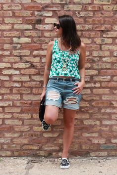My go-to: @J BRAND denim shorts (more of my go-to items today on chicityfashion.com)