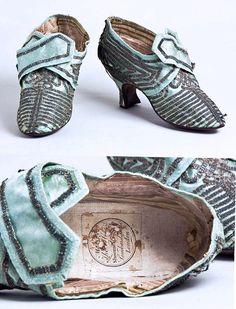 Marie Antoinette's Shoes | Marie Antoinette's light blue satin shoes with ... | MA & Fr. Rev - d ...