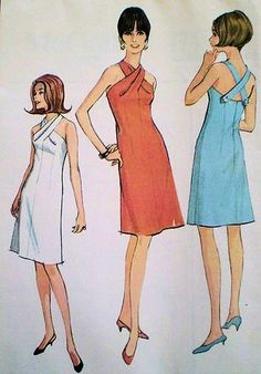 1960s McCalls Pattern 8297 Cocktail Party Halter Dress Striking Twisted Neckline Criss Cross Back