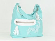 Handmade, one of a kind, Light Aqua Genuine Lambskin Leather Hobo - pinned by pin4etsy.com