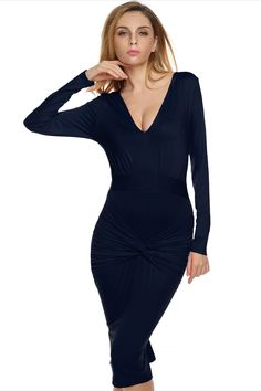 02f38dbde8 Dark blue Finejo Women Lady Long Sleeve Deep V Neck High Waist Sexy Bodycon Solid  Party