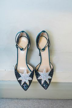 Two Dresses and Charlotte Olympia Shoes for a Star-Filled Theatre Wedding blue wedding dress charlotte olympia star shoes. Charlotte Olympia, Designer Wedding Shoes, Designer Shoes, Starry Wedding, Moon Wedding, Wedding Veils, Wedding Card, Fall Wedding, Wedding Ideas