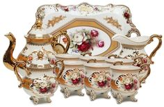 Amazon.com | Amazing Porcelain 10-Piece Royal Roses Dining Tea SET, 24K Gold-plated Service for 6, Handcrafted & Hand-painted: Tea Sets