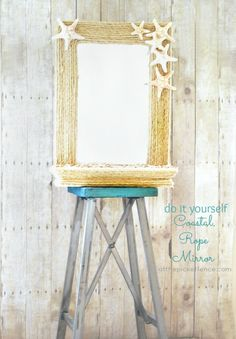 DIY Coastal Rope and Seashell Mirror makeover from www.atthepicketfence.com