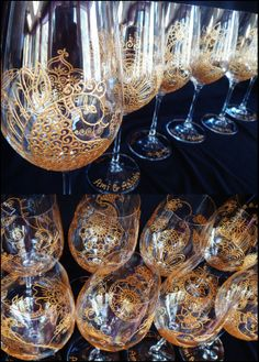 Customize and Personalized Mehndi designs glassware. One of a kind. Artisan hand painted in Canada. Safe tracked shipping across North America. Bridal party gifts, wedding wine glasses.