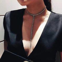 Long Tassel Simple Crystal Rhinestone Choker Necklace Women Gem Statement Luxury Collares Chokers chocker Collier Bijoux
