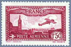 Avion survolant Marseille, timbre de 1930