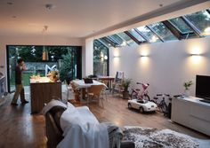Glass roof with openable sections- well have just one, at lesser angle Kitchen Diner Extension, Open Plan Kitchen, Interior Architecture, Interior Design, House Extensions, Kitchen Extensions, Glass Roof, Living Room Kitchen, Atrium