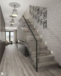 68 Inspirational Photos Of Modern Stairs Design Indoor Glass Stairs, Stairs Window, Tile Stairs, Glass Walls, Brick Wallpaper Stairs, Glass Stair Railing, Style At Home, Home Fashion, Home Interior Design