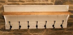 Coat Hook Rack Shelf Pine Panel Back Shabby Chic Distressed Annie Sloan Paint | eBay