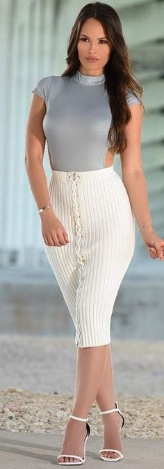 #summer #sensual #chic #outfits |  Grey Bodysuit + White Ribbed Skirt
