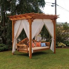 The Traditional English Pergola and swing bed will be stunning in your backyard oasis. Pergola measures 6' x 8'. Also available in 8' x 8' and 8' x 10' and several stain colors.