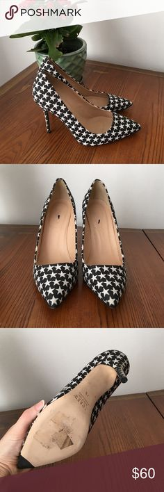 J.Crew black and white star fabric pumps size 7.5 My feet can't tolerate heels at all so I'm sadly parting with them! I've only worn them once for a few hours. Like new condition, and made in Italy! True to size. J. Crew Shoes Heels