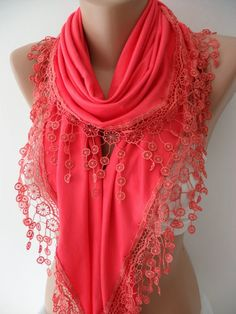 NEW - Coral - Elegant Jersey Shawl/ Scarf, 2014 Fashion, Christmas Gift Coral Scarf, Cotton Scarf, Lace Scarf, Chiffon Scarf, Cute Scarfs, Triangle Scarf, Girly, Look Chic, Passion For Fashion