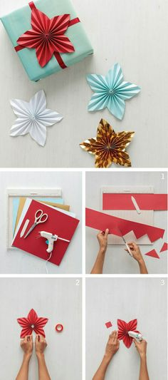 Paper-Star Gift Toppers - Paper-Star Gift Toppers A beautiful new take on the medallion, this DIY star topper can make a plain gift more festive. All you need is hot glue and the Martha Stewart Crafts all-purpose scissors and scoring board! Diy Christmas Star, Christmas Paper Crafts, Christmas Gift Wrapping, Holiday Crafts, Christmas Decorations, Christmas Ornaments, Angel Ornaments, Thanksgiving Crafts, Christmas Presents