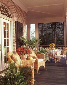 Upscale brick porch details Southern