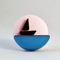Boat brooch handmade by I Am Acrylic from perspex by iamacrylic
