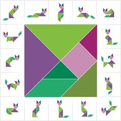 pussel, kinesiskt pussel, knep och knåp, geometri, matte, matematik, tangrampussel, tangram pussel Early Learning, Learning Activities, Kids Learning, Montessori Activities, Toddler Activities, Tangram Puzzles, Homeschool Math, Learning Through Play, Home Schooling