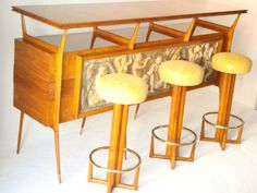 60's Scapinelli Bar with Three Stools | From a unique collection of antique and modern dry bars at http://www.1stdibs.com/furniture/storage-case-pieces/dry-bars/