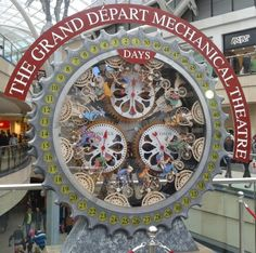 The Tour de France countdown clock. Designed by  Leeds theatre designer Barney George. The clock will chime and shoot confetti canons to signal the start of the race