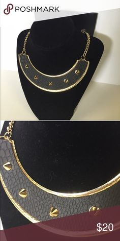 NWT Studded Collar or Bib Necklace Black crocodile print and gold studs on this collar style bib necklace. Fashion or costume piece. Material Girl Jewelry Necklaces